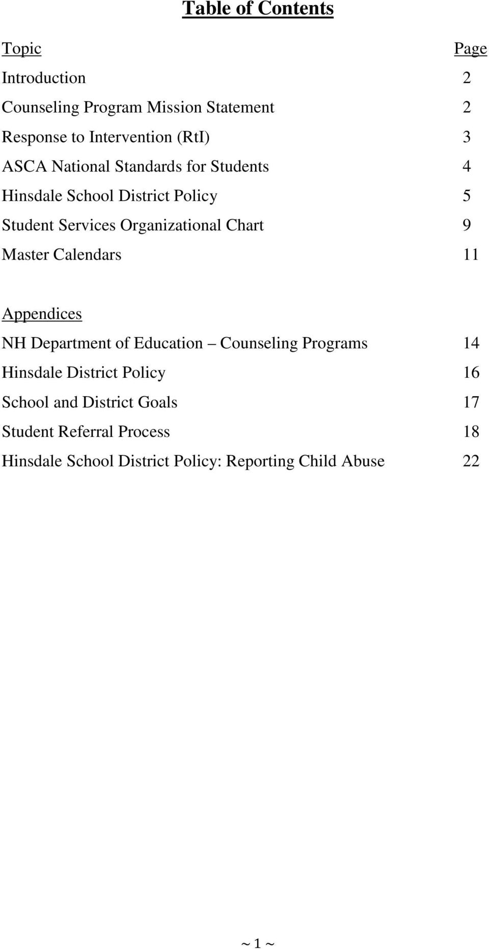 Chart 9 Master Calendars 11 Appendices NH Department of Education Counseling Programs 14 Hinsdale District