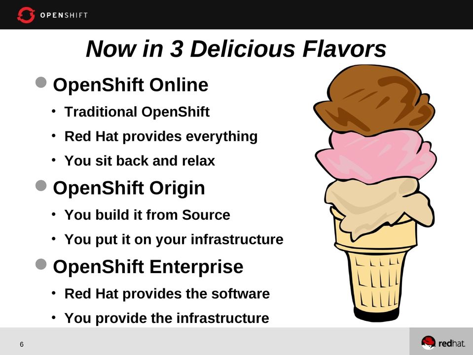 You build it from Source You put it on your infrastructure OpenShift