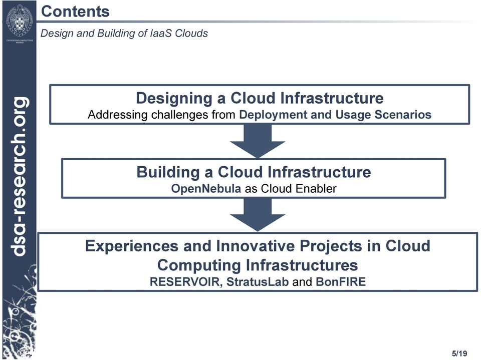 OpenNebula as Cloud Enabler Experiences and Innovative Projects in
