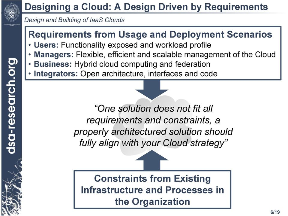 Integrators: Open architecture, interfaces and code One solution does not fit all requirements and constraints, a properly