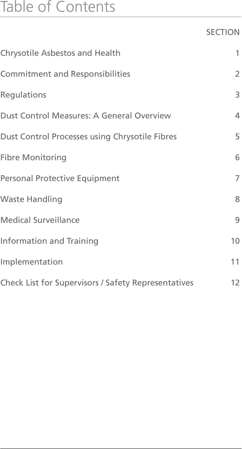 Fibres 5 Fibre Monitoring 6 Personal Protective Equipment 7 Waste Handling 8 Medical Surveillance