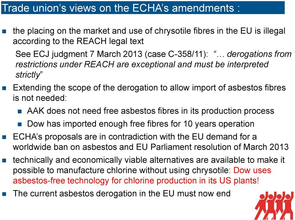 not need free asbestos fibres in its production process Dow has imported enough free fibres for 10 years operation ECHA s proposals are in contradiction with the EU demand for a worldwide ban on