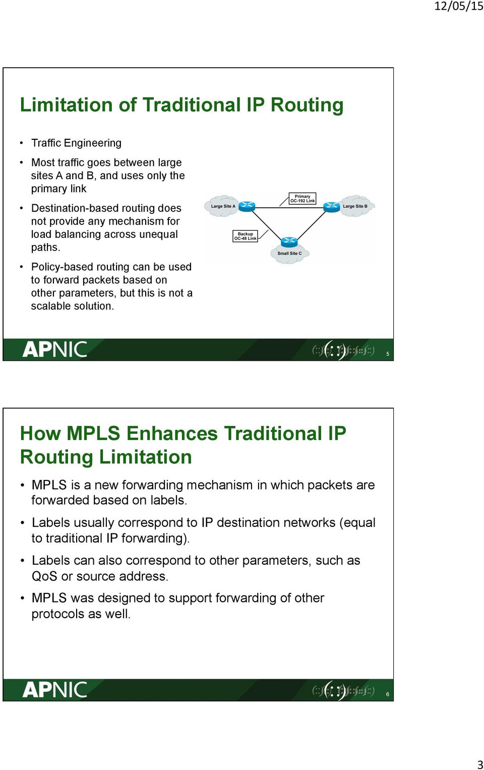 5 How MLS Enhances Traditional I Routing Limitation MLS is a new forwarding mechanism in which packets are forwarded based on labels.