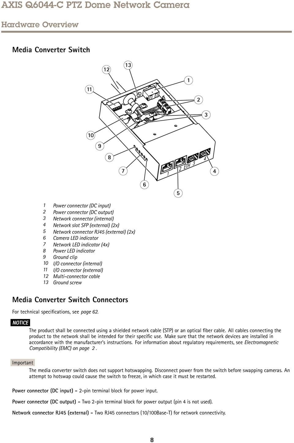Multi-connector cable 13 Ground screw Media Converter Switch Connectors For technical specifications, see page 62.