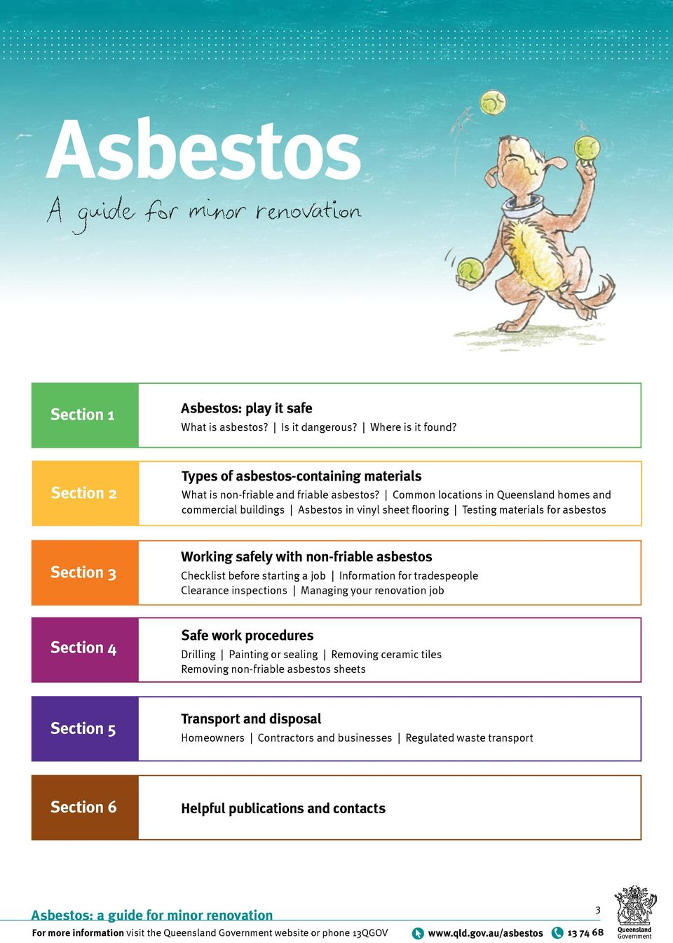 Common locations in Queensland homes and commercial buildings Asbestos in vinyl sheet flooring Testing materials for asbestos Working safely with non-friable asbestos Checklist before starting a job
