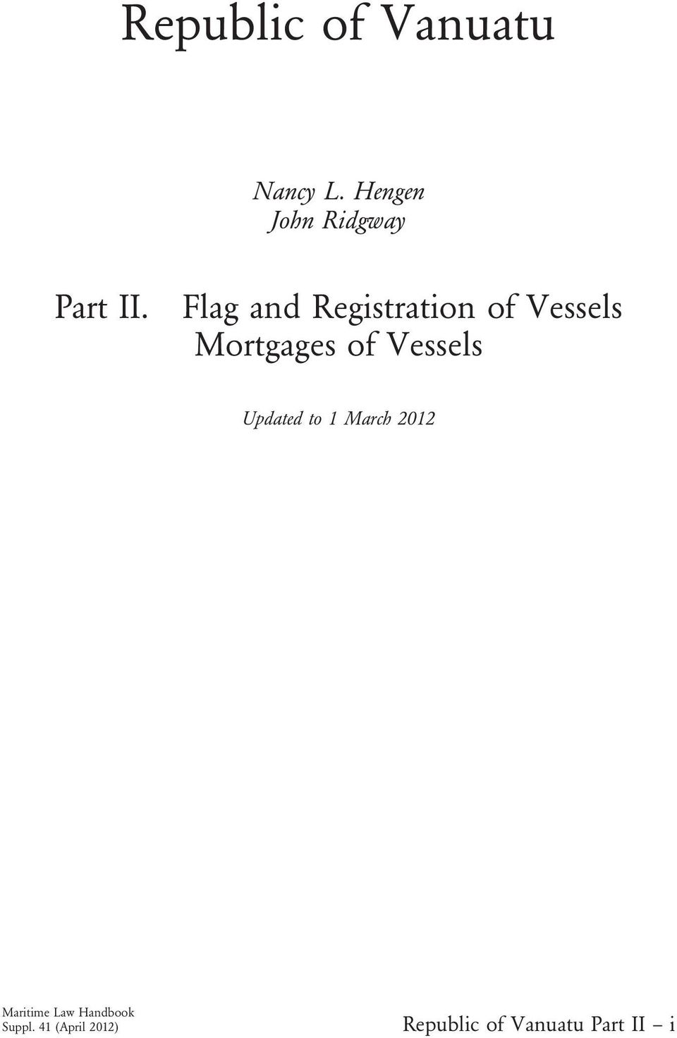 Flag and Registration of Vessels