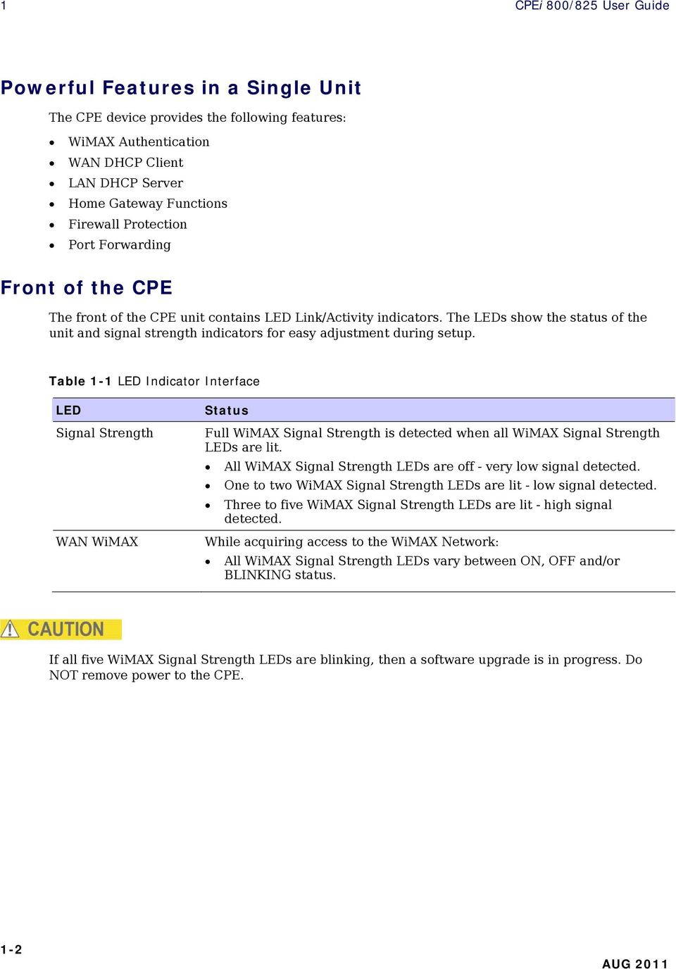 The LEDs show the status of the unit and signal strength indicators for easy adjustment during setup.