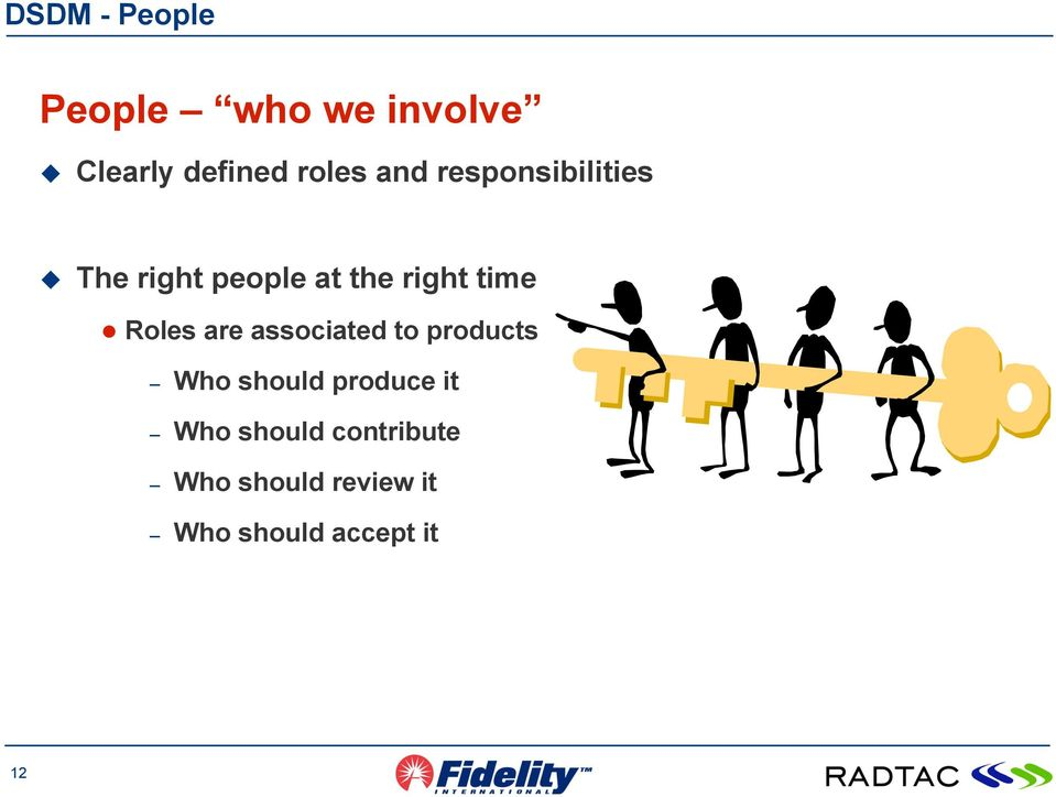 Roles are associated to products Who should produce it Who