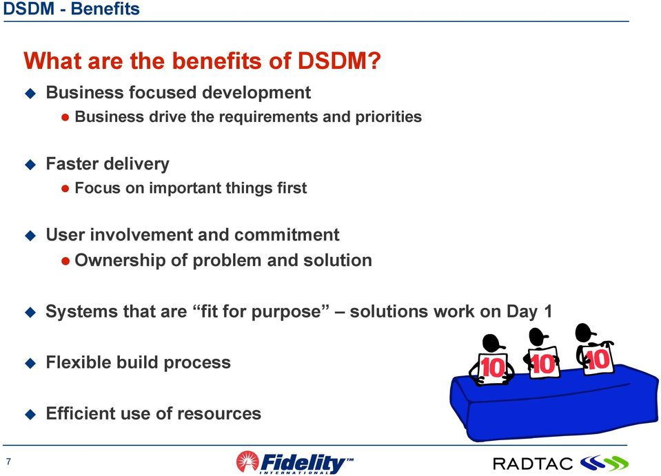 delivery Focus on important things first User involvement and commitment Ownership of