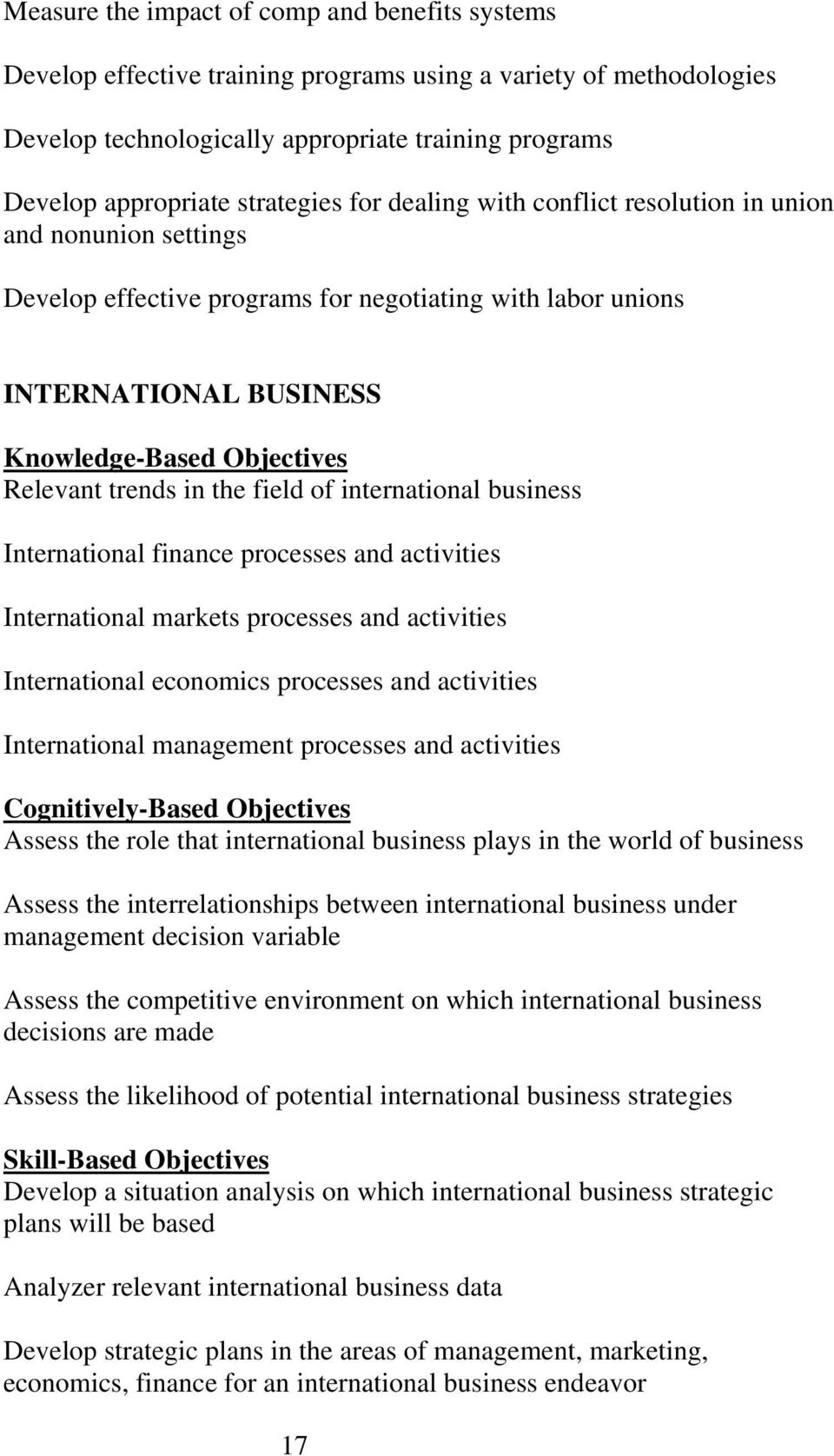 trends in the field of international business International finance processes and activities International markets processes and activities International economics processes and activities