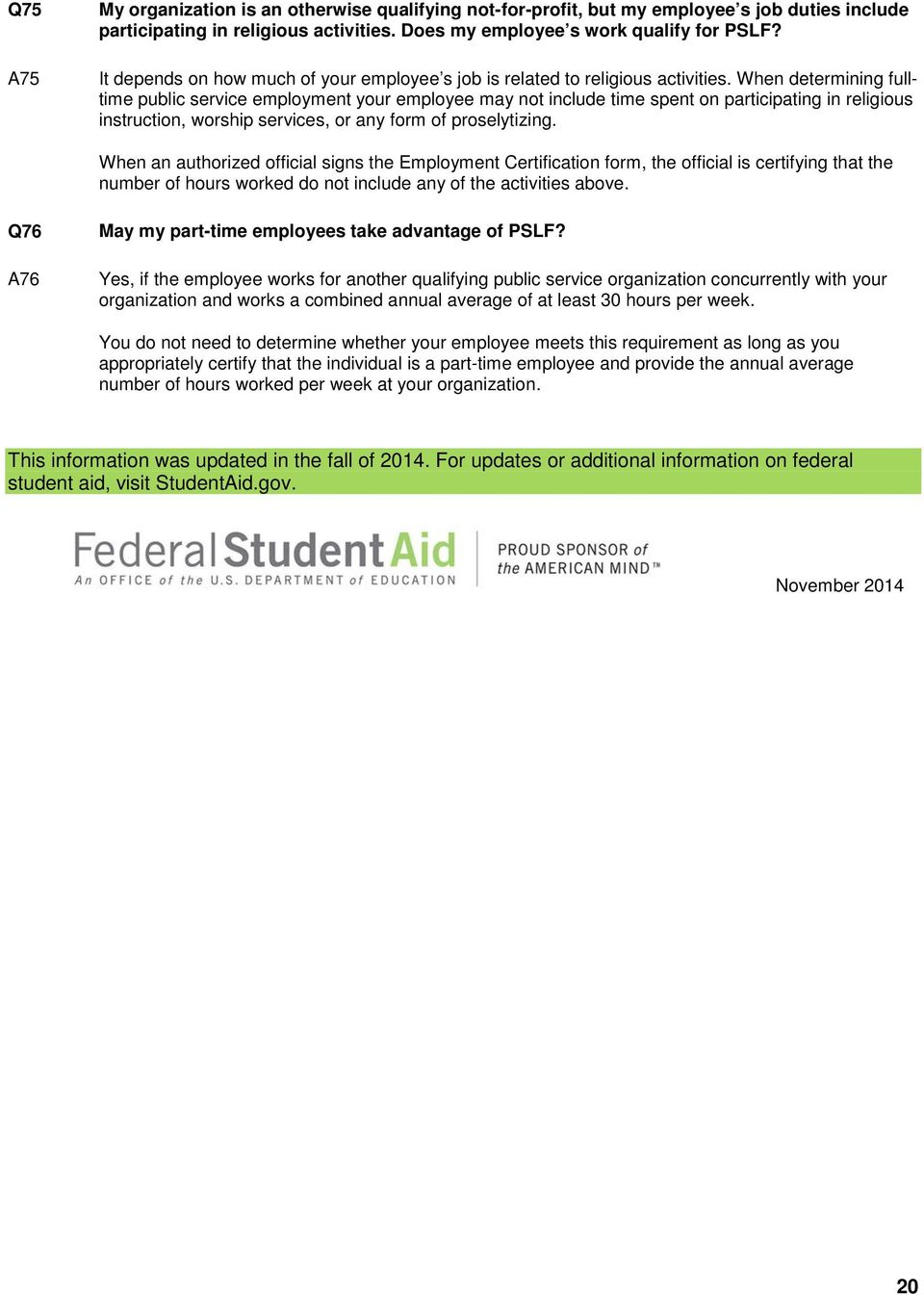 Federal Student Aid Public Service Loan Forgiveness Program Pdf