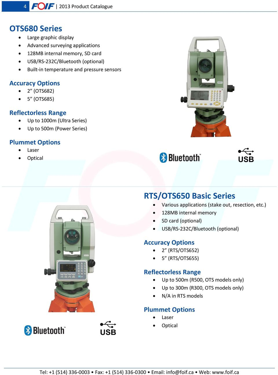 Optical RTS/OTS650 Basic Series Various applications (stake out, resection, etc.