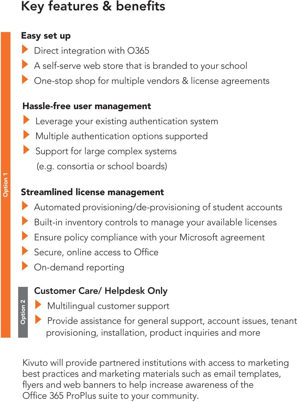 provisioning/de-provisioning of student accounts Built-in inventory controls to manage your available licenses Ensure policy compliance with your Microsoft agreement Secure, online access to Office