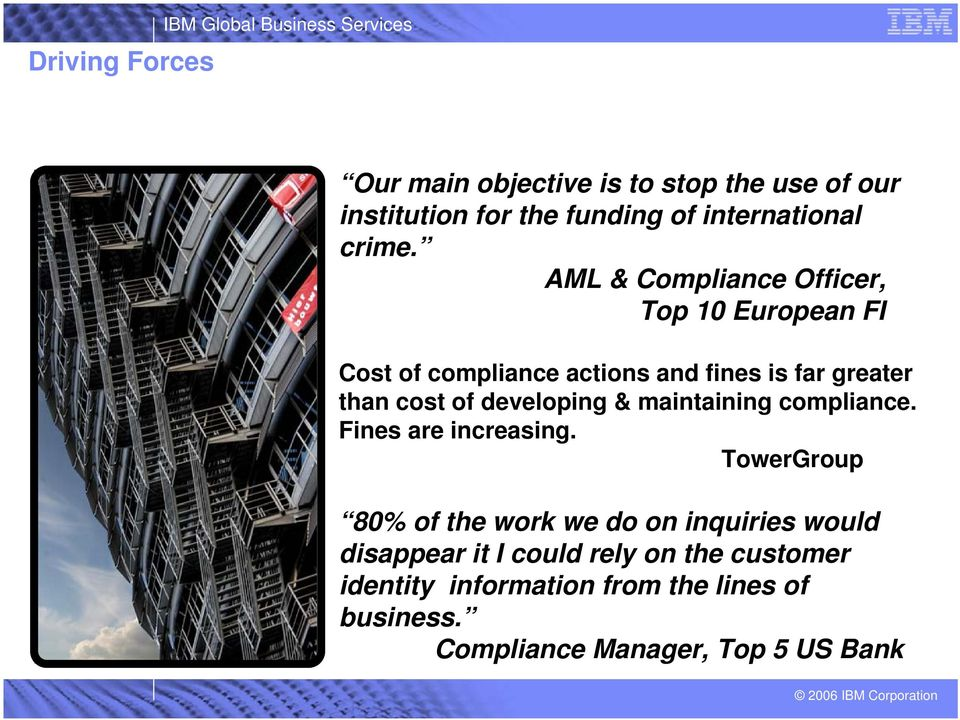 AML & Compliance Officer, Top 10 European FI Cost of compliance actions and fines is far greater than cost of developing