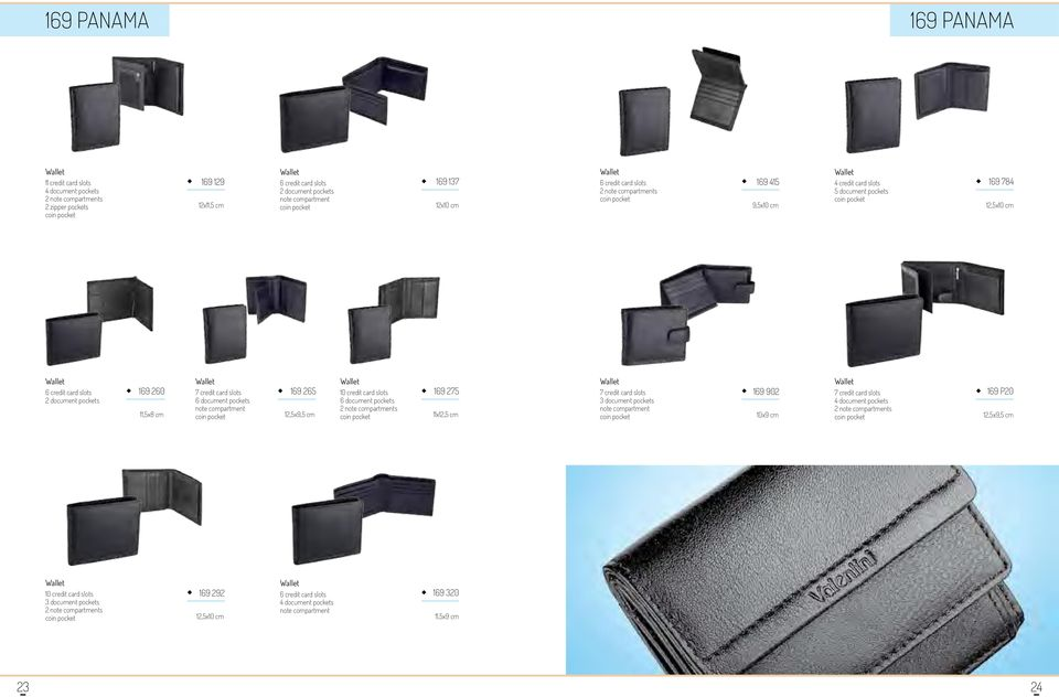 10 credit card slots 6 document pockets 169 275 11x12,5 cm 7 credit card slots 169 902 10x9 cm 7