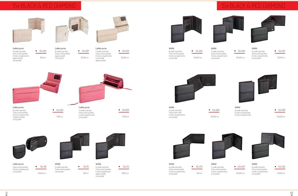 cm 7 document slots 154 268 12,5x9,5 cm 9 credit card slots 6 name card pockets 2 note compartmnets 154 269 12,5x9,5 cm 154 418 9,5x9,5 cm 154 115 11x9 cm 5 credit