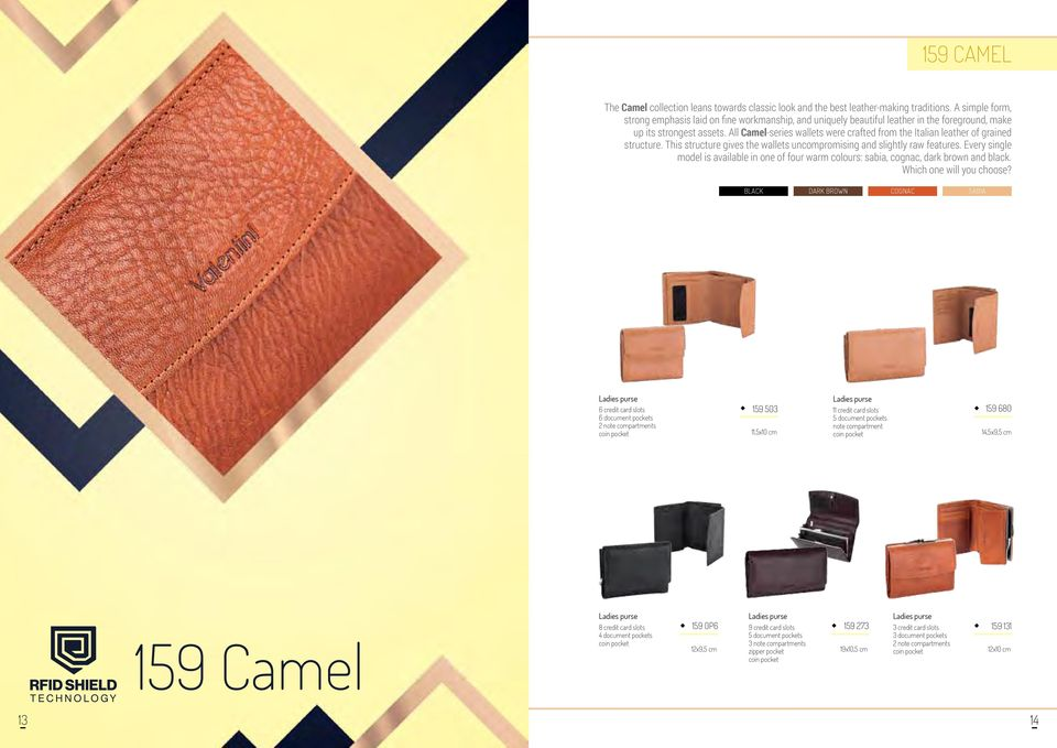 All Camel-series wallets were crafted from the Italian leather of grained structure. This structure gives the wallets uncompromising and slightly raw features.