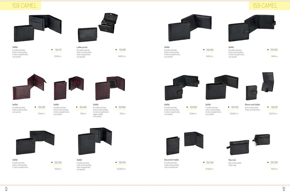 cm 7 credit card slots 159 P20 12,5x9,5 cm Name card holder name card pocket 159 013 10,5x7,5 cm 6 credi card slots 159