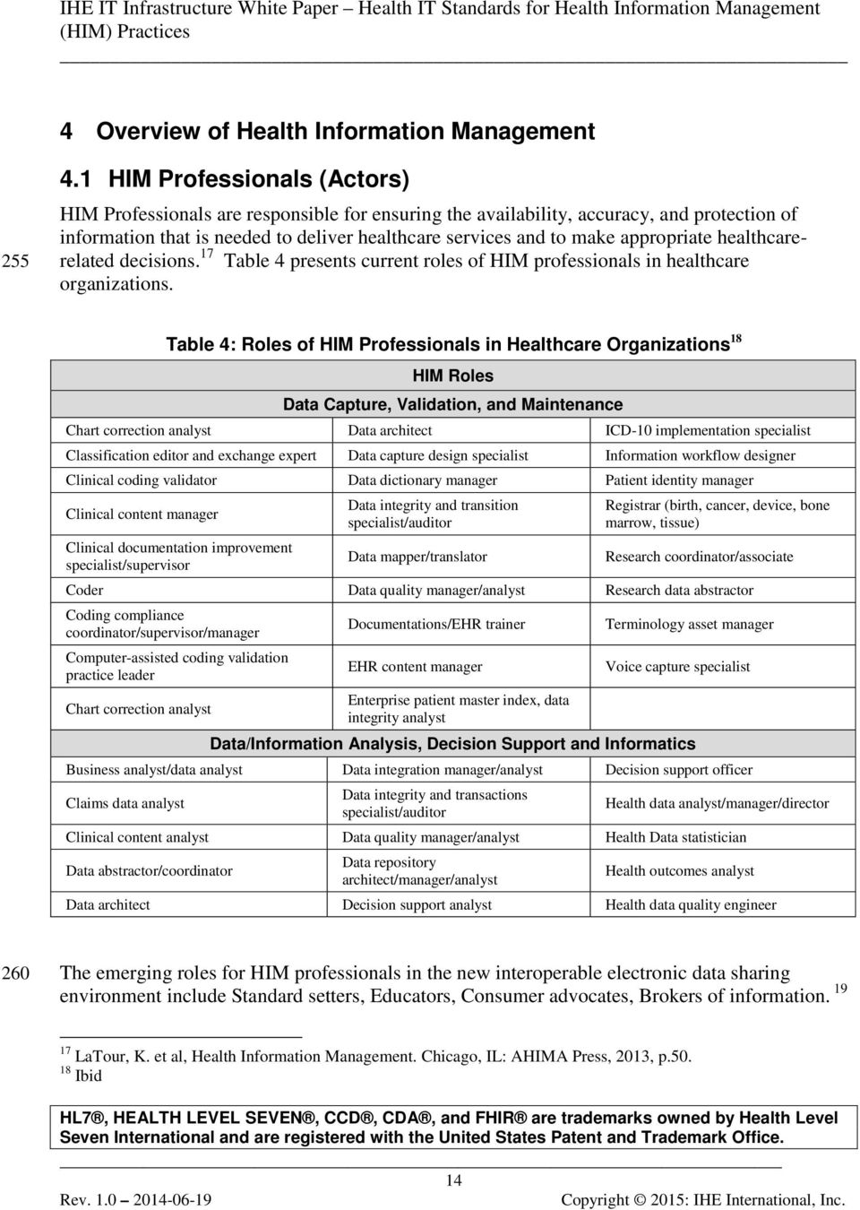 appropriate healthcarerelated decisions. 17 Table 4 presents current roles of HIM professionals in healthcare organizations.