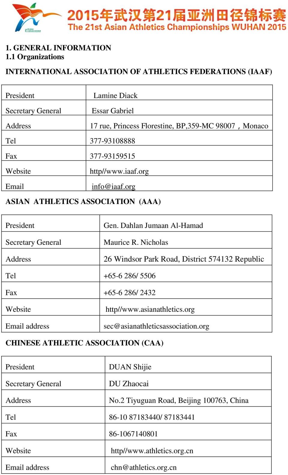 377-93108888 Fax 377-93159515 Website Email http//www.iaaf.org info@iaaf.org ASIAN ATHLETICS ASSOCIATION (AAA) President Secretary General Address Gen. Dahlan Jumaan Al-Hamad Maurice R.