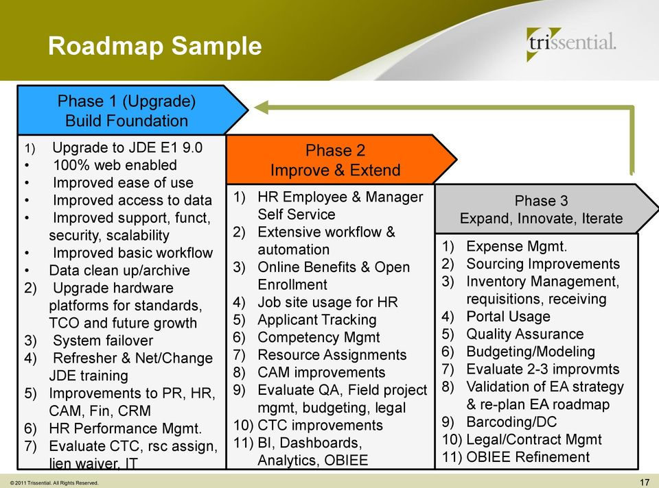 standards, TCO and future growth 3) System failover 4) Refresher & Net/Change JDE training 5) Improvements to PR, HR, CAM, Fin, CRM 6) HR Performance Mgmt.
