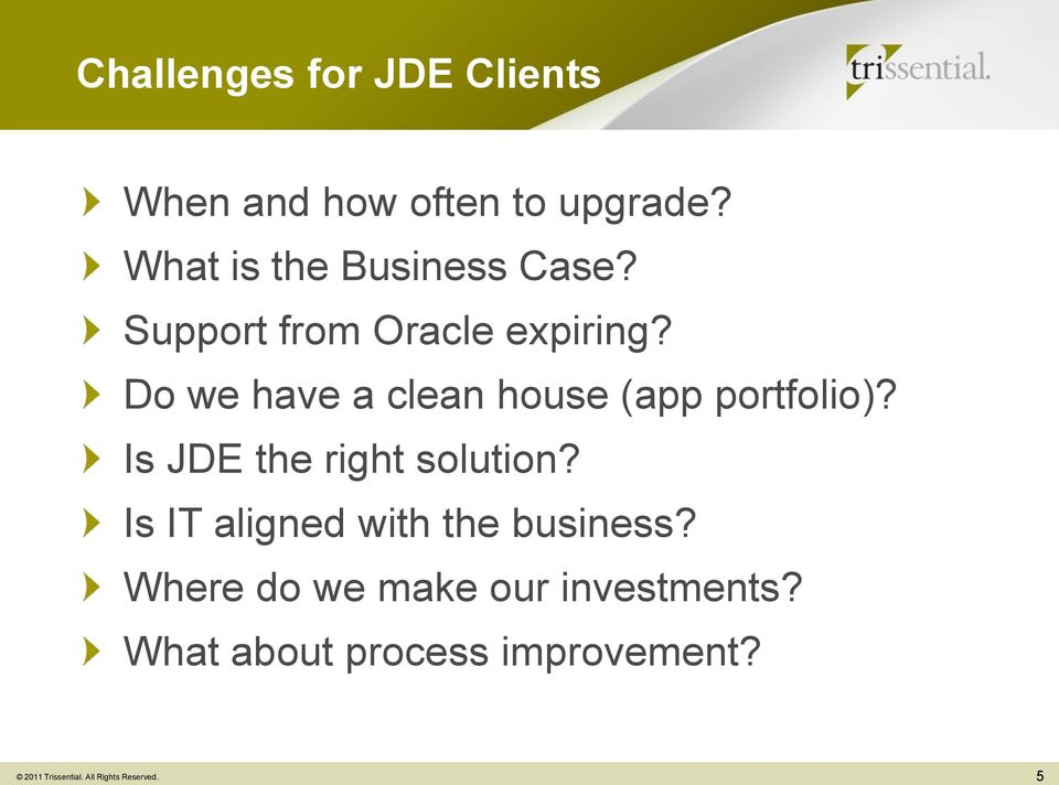 Do we have a clean house (app portfolio)? Is JDE the right solution?