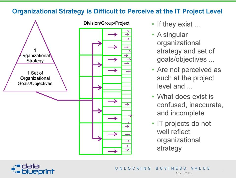 .. A singular organizational strategy and set of goals/objectives.