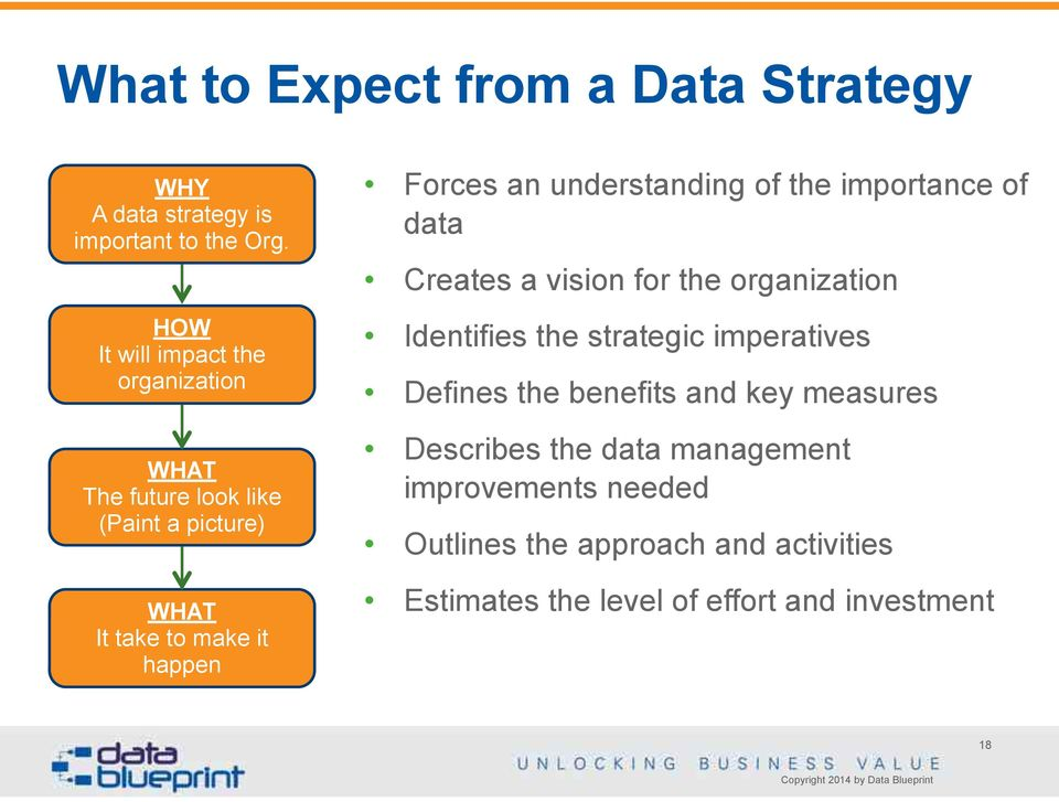 understanding of the importance of data Creates a vision for the organization Identifies the strategic imperatives Defines