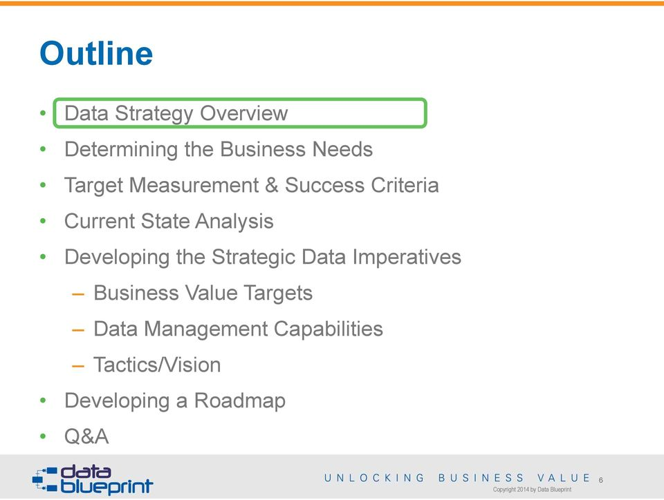 Developing the Strategic Data Imperatives Business Value Targets