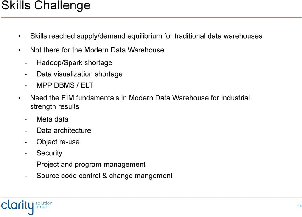 the EIM fundamentals in Modern Data Warehouse for industrial strength results - Meta data - Data