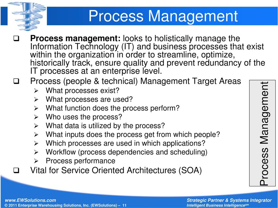 What processes are used? What function does the process perform? Who uses the process? What data is utilized by the process? What inputs does the process get from which people?