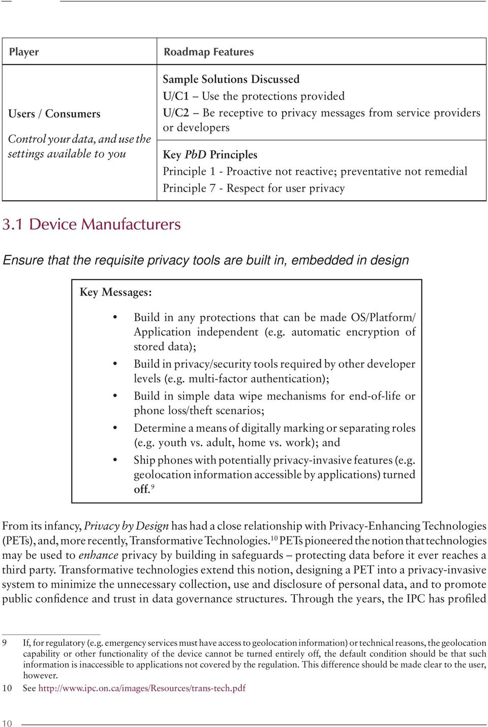 1 Device Manufacturers Ensure that the requisite privacy tools are built in, embedded in design