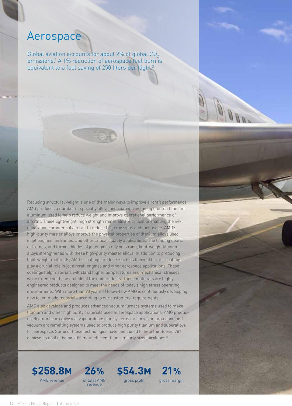 AMG produces a number of specialty alloys and coatings including gamma titanium aluminum used to help reduce weight and improve operational performance of aircraft.