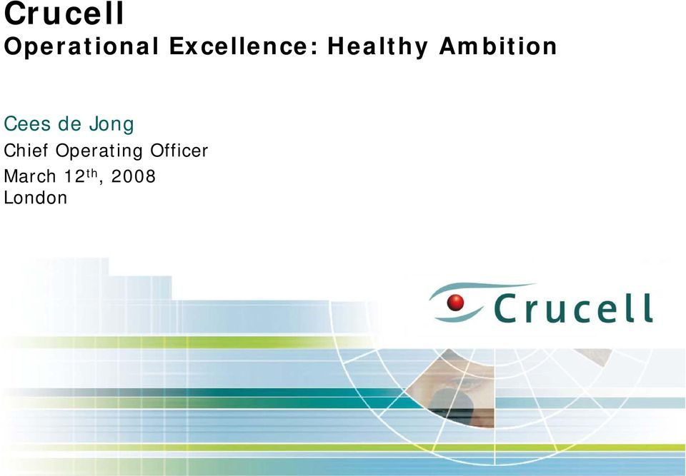 Ambition Cees de Jong Chief