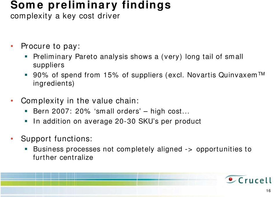 Novartis Quinvaxem TM ingredients) Complexity in the value chain: Bern 2007: 20% small orders high cost.