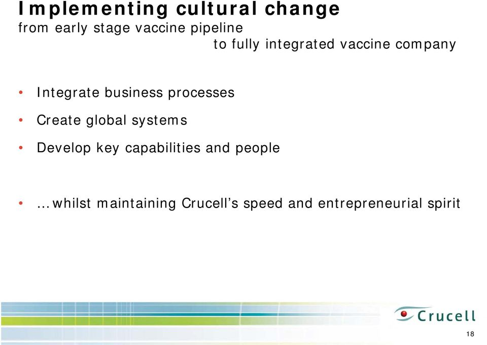 processes Create global systems Develop key capabilities and