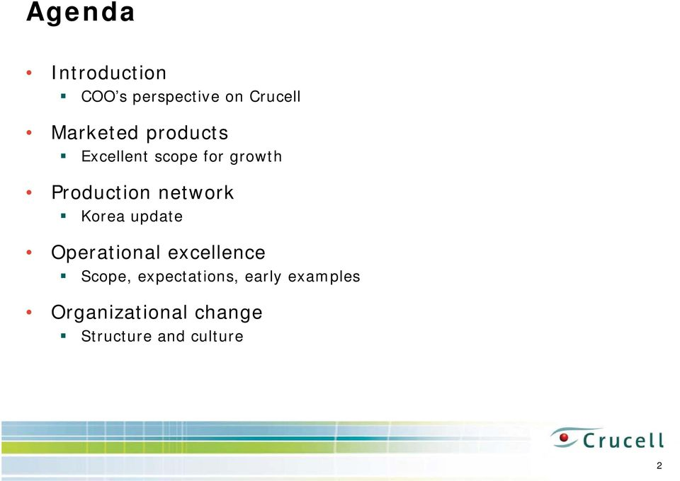 Korea update Operational excellence Scope, expectations,