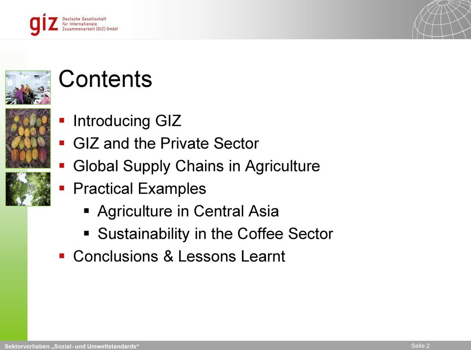 Agriculture in Central Asia Sustainability in the