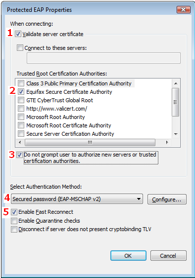 11. In the Protected EAP Properties window make sure that the following boxes are checked. 1. Validate server certificate 2.