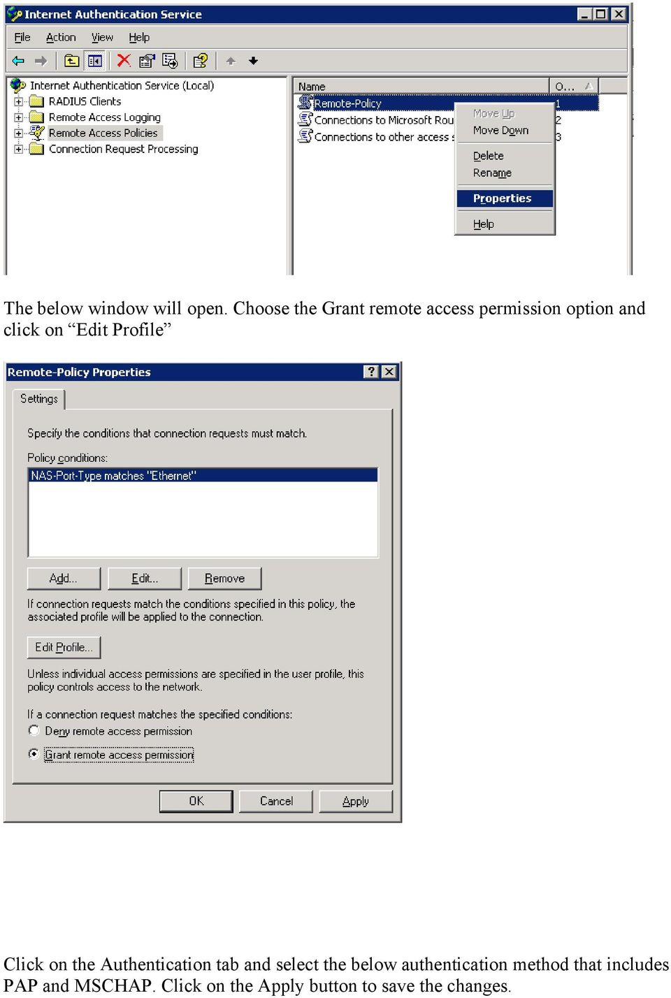 Edit Profile Click on the Authentication tab and select the