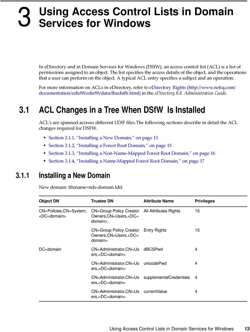 For more information on ACLs in edirectory, refer to edirectory Rights (http://www.netiq.com/ documentation/edir88/edir88/data/fbachifb.html) in the edirectory 8.8. Administration Guide. 3.