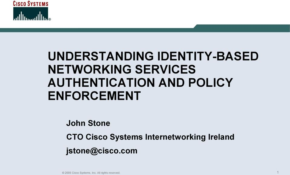 CTO Cisco Systems Internetworking Ireland
