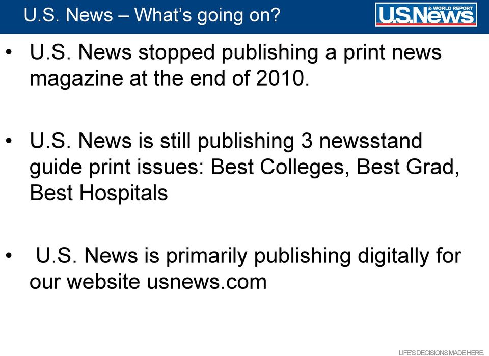 News is still publishing 3 newsstand guide print issues: Best