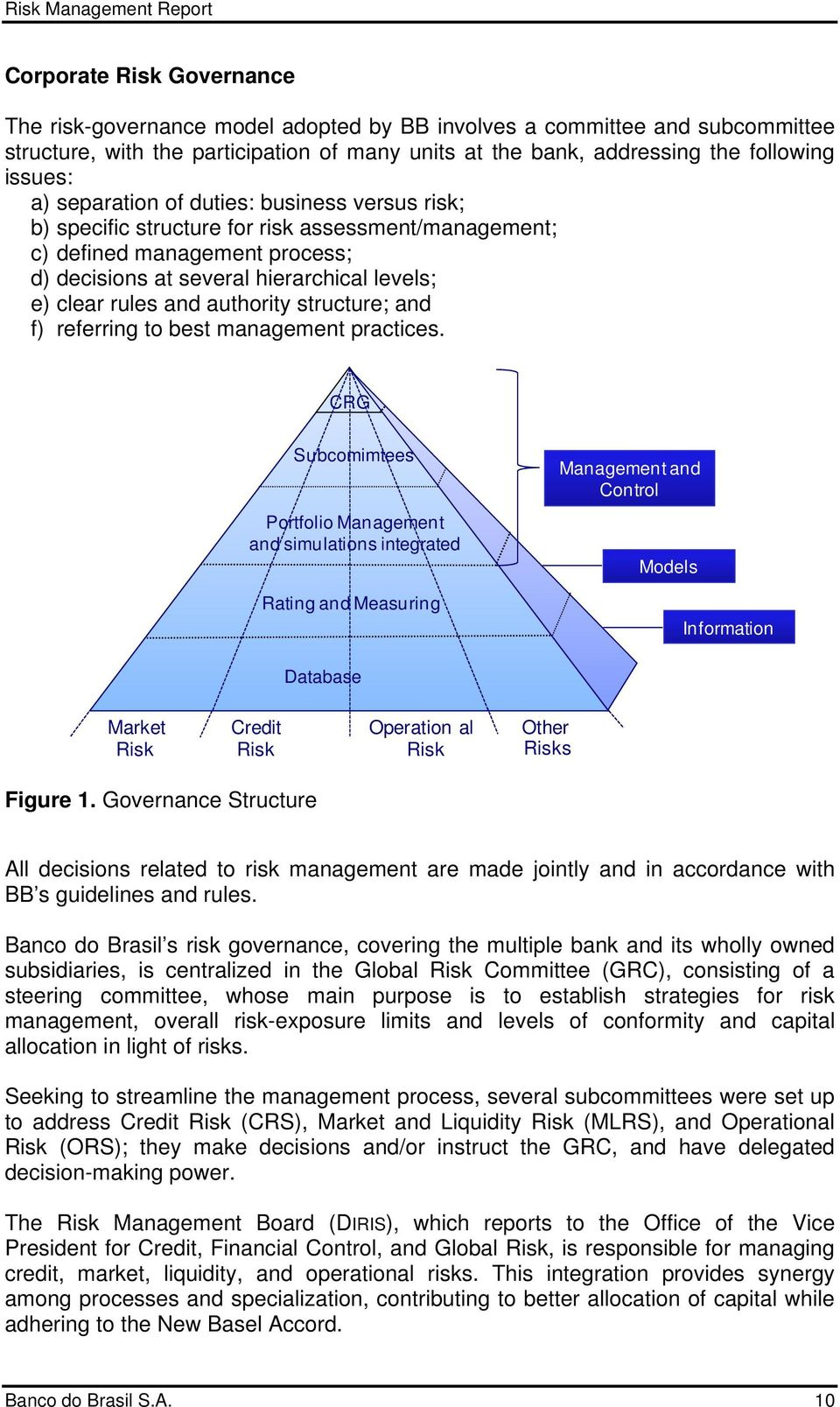 authority structure; and f) referring to best management practices.