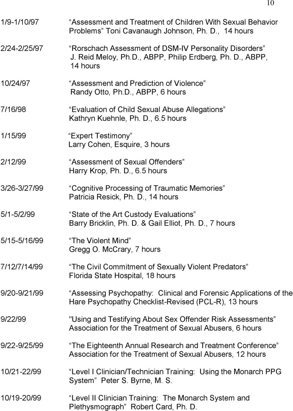 D., 6.5 hours 1/15/99 Expert Testimony Larry Cohen, Esquire, 3 hours 2/12/99 Assessment of Sexual Offenders Harry Krop, Ph. D., 6.5 hours 3/26-3/27/99 Cognitive Processing of Traumatic Memories Patricia Resick, Ph.