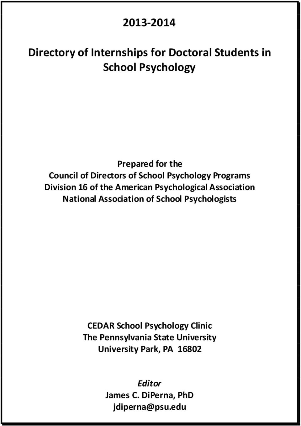 Association National Association of School Psychologists CEDAR School Psychology Clinic The