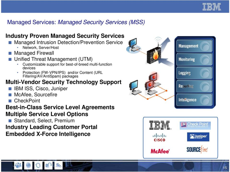 and/or Content (URL Filtering/AV/AntiSpam) packages Multi-Vendor Security Technology Support IBM ISS, Cisco, Juniper McAfee, Sourcefire CheckPoint
