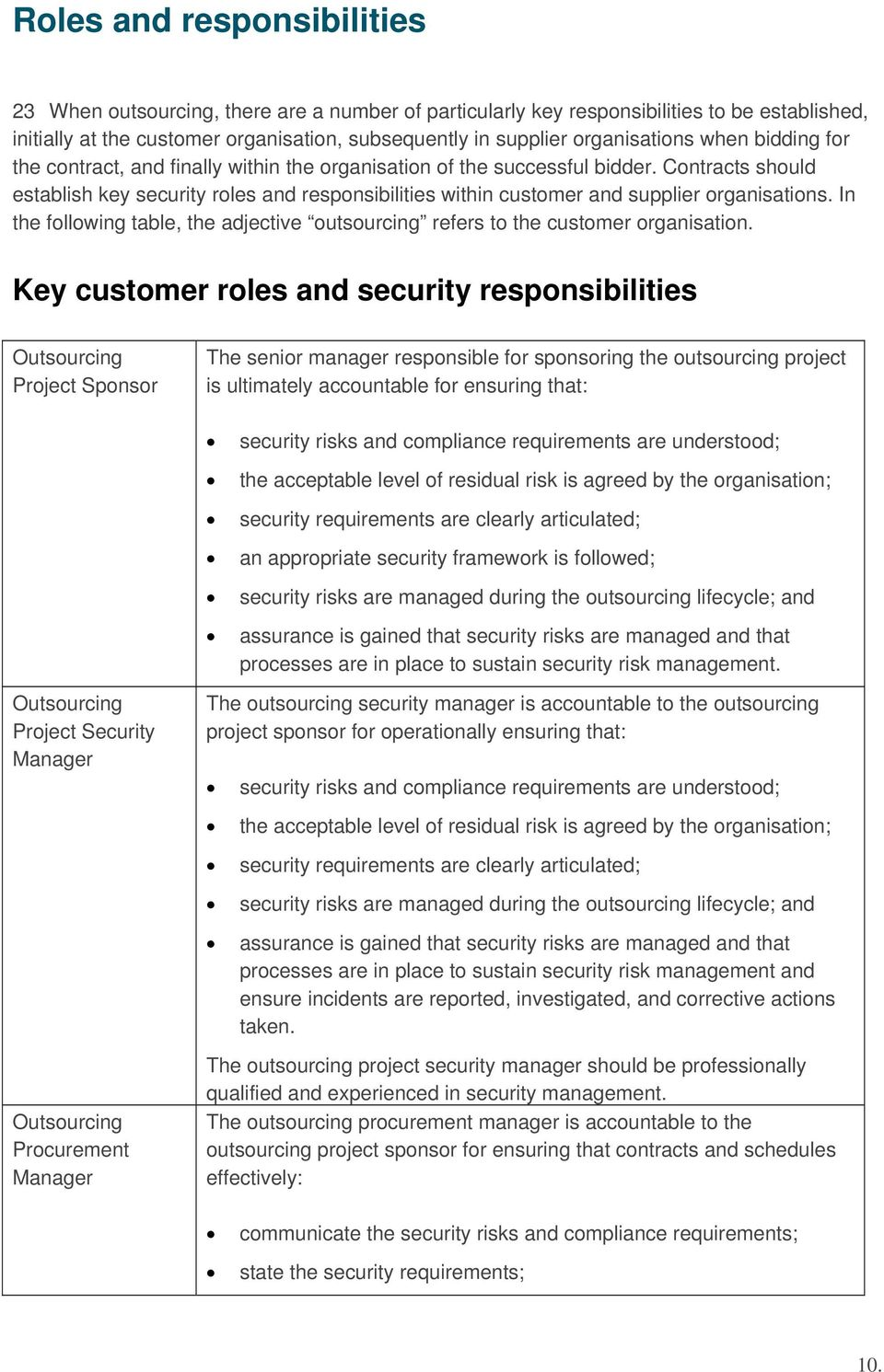 Contracts should establish key security roles and responsibilities within customer and supplier organisations. In the following table, the adjective outsourcing refers to the customer organisation.