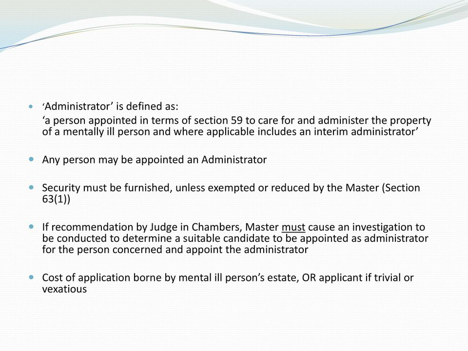 63(1)) If recommendation by Judge in Chambers, Master must cause an investigation to be conducted to determine a suitable candidate to be appointed as