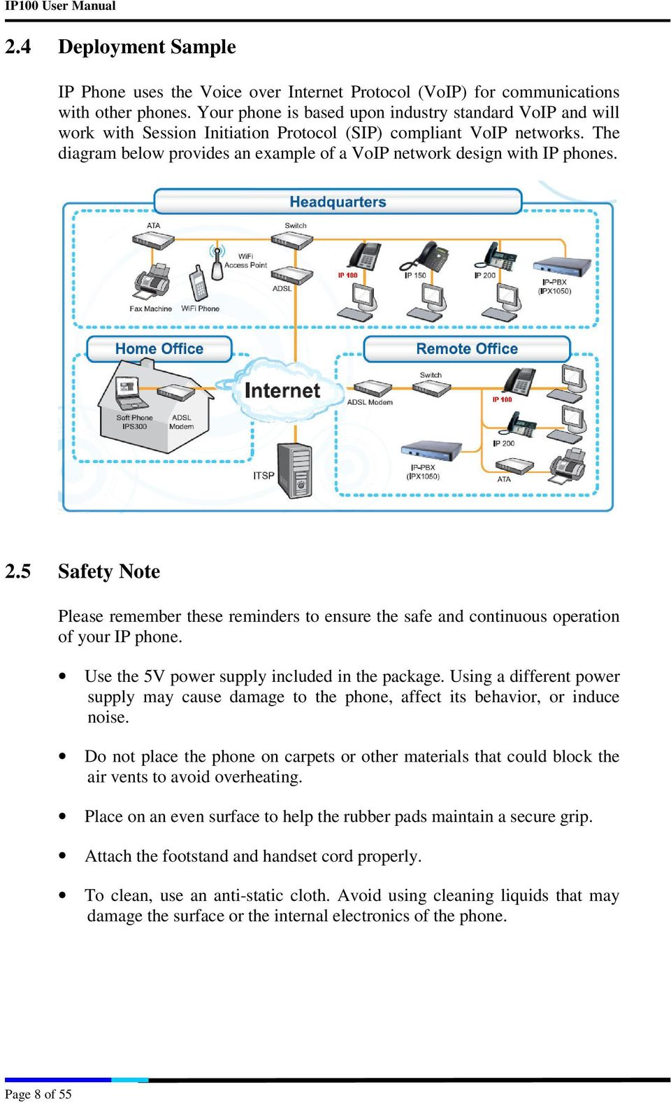 The diagram below provides an example of a VoIP network design with IP phones. 2.5 Safety Note Please remember these reminders to ensure the safe and continuous operation of your IP phone.
